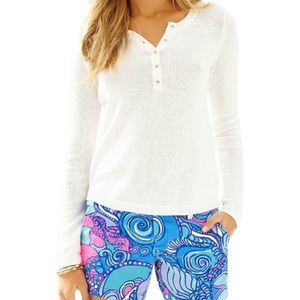 Lilly Pulitzer White Adair Long Sleeve Sweater
